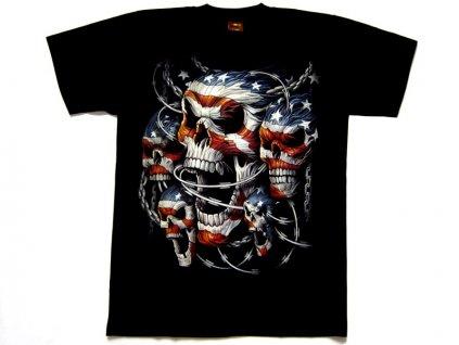 Motorkářské Tričko Americká Lebka