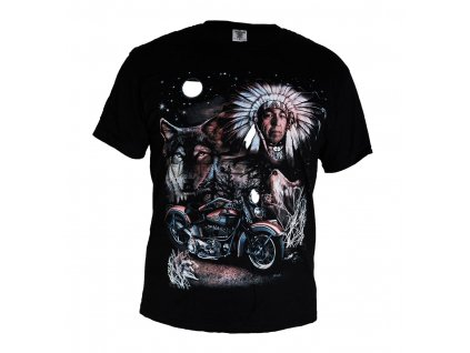 Tričko Indián Vlk a Motorka
