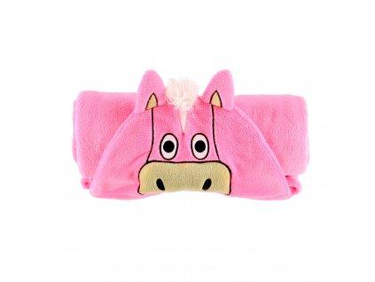 Dětská fleecová deka - Růžový Kůň