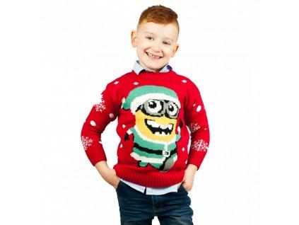 Dětský vánoční svetr Já Padouch - Mimoni - červený