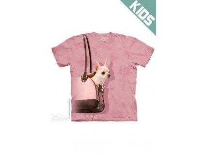Tričko s potiskem čivava v tašce - Dětské