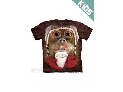Tričko s potiskem orangután s horkou čokoládou - Dětské