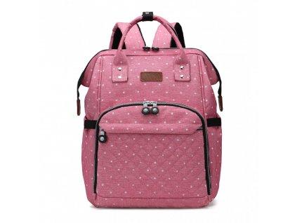 Přebalovací batoh na kočárek - růžový s puntíky