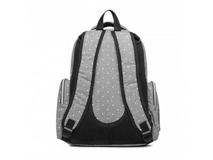 Přebalovací batoh s doplňky na kočárek - šedý s puntíky