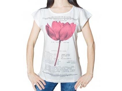 56c165cd3bb Dámské tričko s potiskem - Lotosový květ - béžové