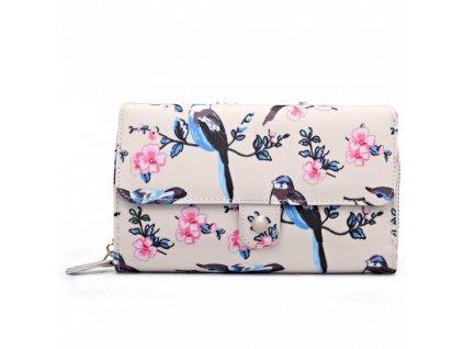 Praktická peněženka - krémově-růžová s ptáčky