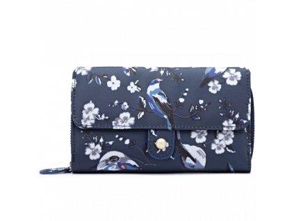 Praktická peněženka -tmavě modrá s ptáčky