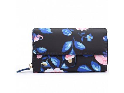 Praktická peněženka -tmavě modrá - růže