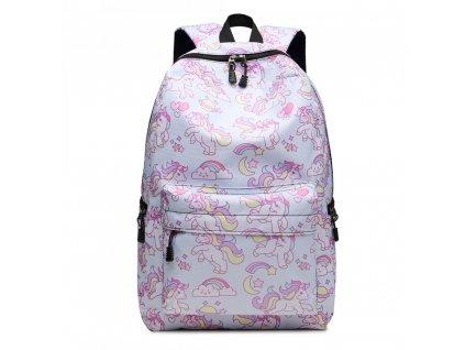 Školní batoh - Unicorn - jednorožec - světle modrý