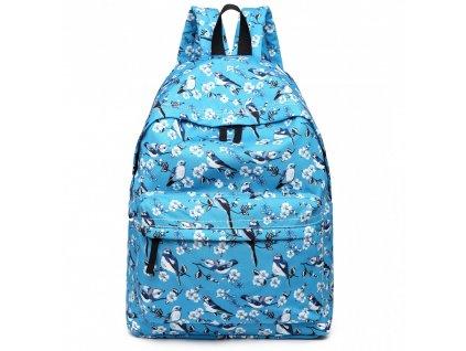 Batoh na záda s potiskem - modrý s ptáčky