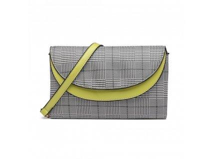 Elegantní crossbody kabelka - zelená kostkovaná