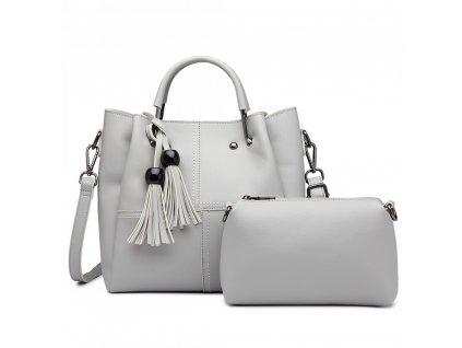 Luxusní designová kabelka s třásněmi - světlo šedá