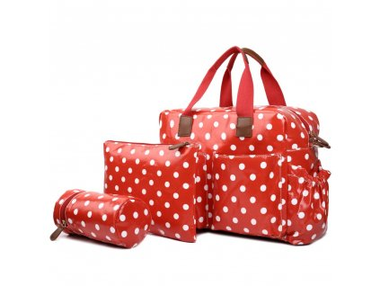 Taška na kočárek - červená - puntík