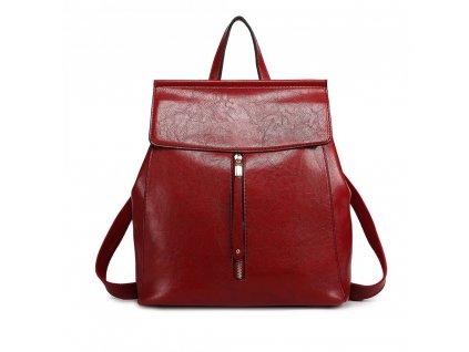 Dámský elegantný batoh ve stylu vintage - burgundská červená