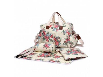 Taška na kočárek - bílá - puntík a růže