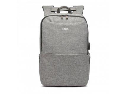 Multifunkční nepromokavý pánský batoh s USB portem - šedý