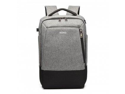Multifunkční nepromokavý pánský batoh s USB portem - šedo-černý