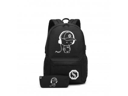 Chlapecký svítící školní batoh - Senkey - černý