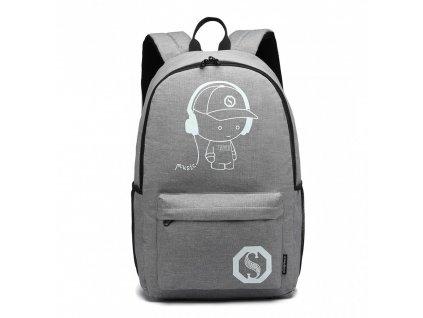Chlapecký svítící školní batoh - Senkey - šedý
