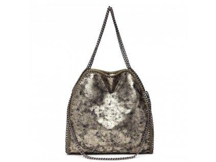 Velká dámská kabelka s řetízky - zlatá