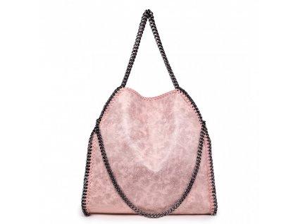 Velká dámská kabelka s řetízky - Nude