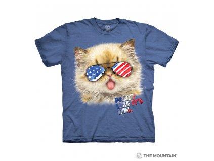 Tričko Kotě s Americkou Vlajkou v Brýlích