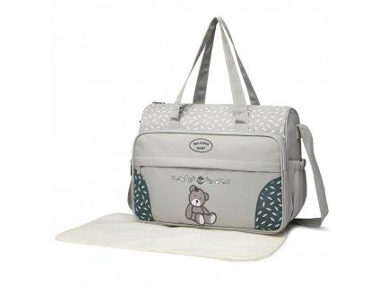 Přebalovací taška s medvídkem - šedá
