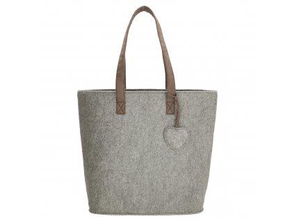 Filcová kabelka na rameno Beagles - světle šedá