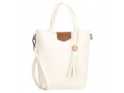 Stylová kabelka Charm s třásní - bílá