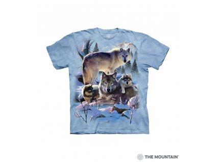 Tričko Vlčí rodinka v horách - Dětské