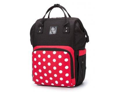 Multifunkční batoh na kočárek se zabudovaným ohřívačem a USB portem - Černo červeno bílý