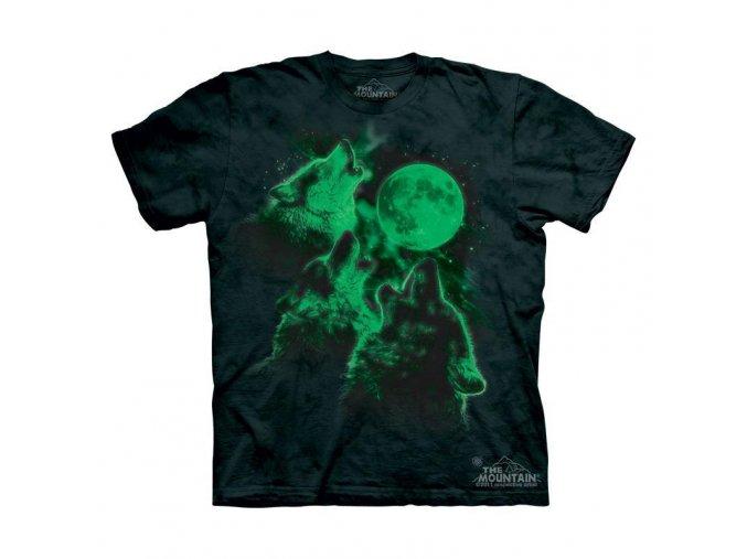 Tričko Vlci vyjící na měsíc - Glow In Dark