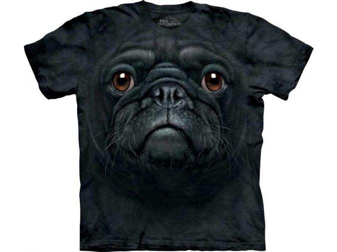 Tričko Černý Mops Psí Tvář