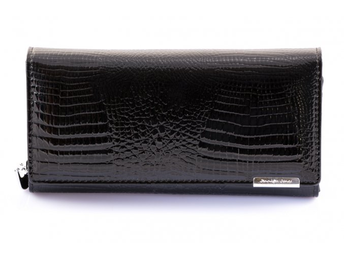 Dámská luxusní peněženka - černá hadí kůže lakovaná