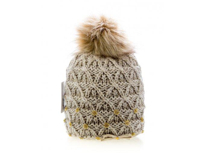 Béžová dámská zimní čepice s mašličkou - pletená a zateplená - Perfect