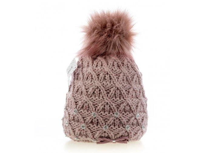 Starorůžová dámská zimní čepice s mašličkou - pletená a zateplená - Perfect