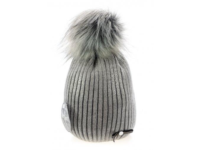 Světle šedá dámská zimní čepice s mašličkou a stříbrným odleskem -  Perfect