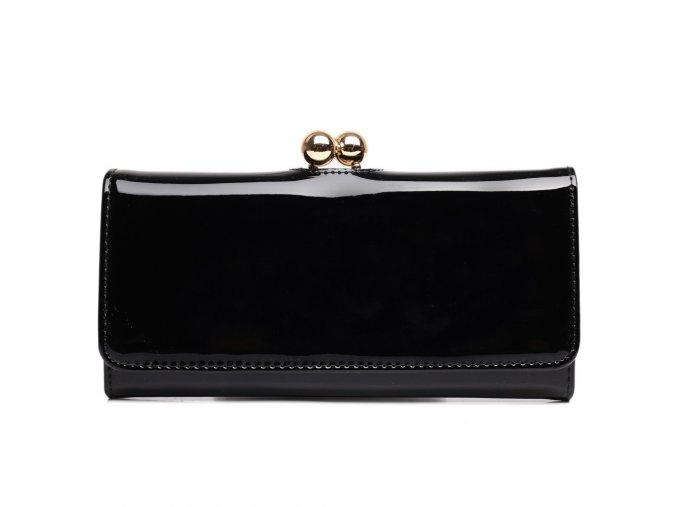 Lakovaná dámská peněženka Miss Lulu - černá