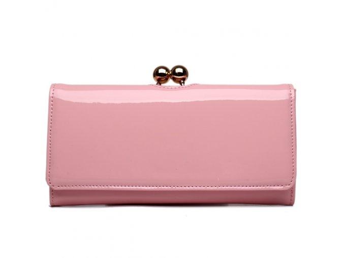 Lakovaná dámská peněženka Miss Lulu - růžová