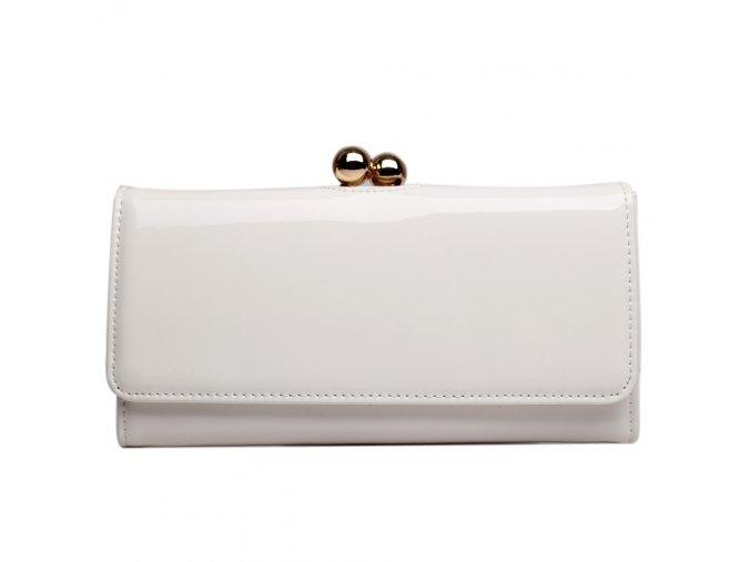 Lakovaná dámská peněženka Miss Lulu - bílá