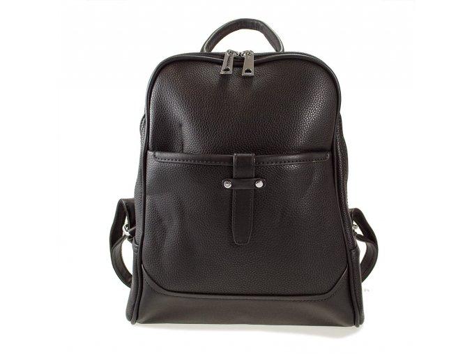 Elegantní dámský černý batoh s přezkou uprostřed