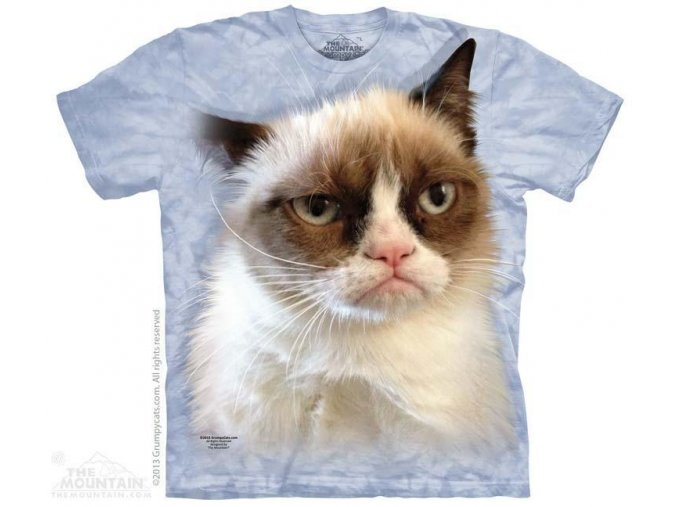 Tričko s potiskem nevrlý kocour v modré barvě