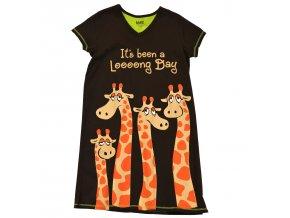 """Dámská Noční Košile Žirafa """"To byl dloooouhý den"""""""