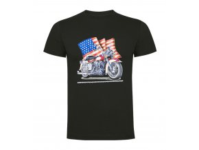 Tričko Motorka Americká Vlajka Tmavě Šedé