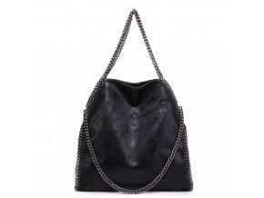 Velká dámská kabelka s řetízky - černá