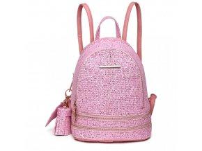 Rozkošný růžový batůžek Miss Lulu s třpytivými kamínky