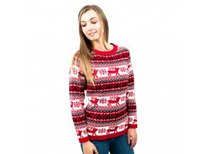 Dámský vánoční svetr - červený