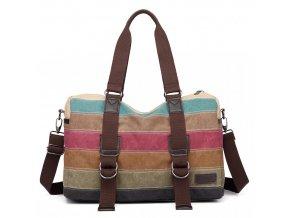 KONO cestovní víkendová taška duhová - Rainbow Stripe