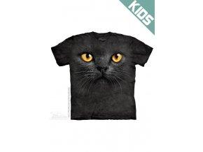 Tričko s potiskem tvář černá kočka - Dětské