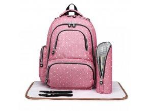 Přebalovací batoh s doplňky na kočárek - růžový s puntíky